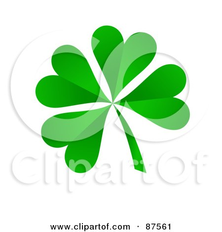 Royalty-Free (RF) Clipart Illustration of a 3d Four Leaf Green Shamrock Clover by oboy