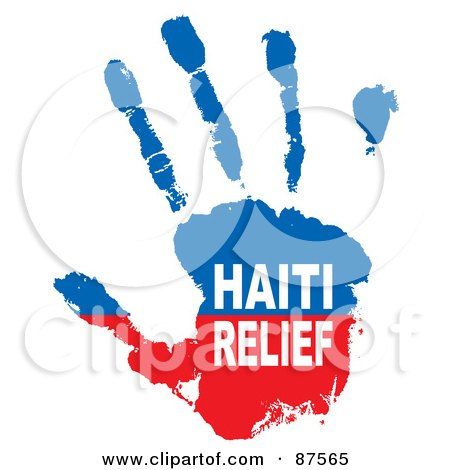 Royalty-Free (RF) Clipart Illustration of a Red And Blue Haiti Relief Paint Hand Print by michaeltravers
