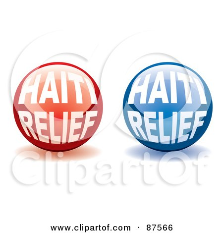 Royalty-Free (RF) Clipart Illustration of a Digital Collage Of Shiny Red And Blue Haiti Relief Website Buttons With Shadows by michaeltravers