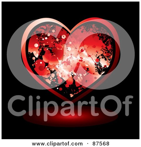 Royalty-Free (RF) Clipart Illustration of a Red Blood Splatter Heart And Shadow On Black by michaeltravers