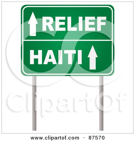 Royalty-Free (RF) Clipart Illustration of Arrows On A Green Relief Haiti Road Sign by michaeltravers