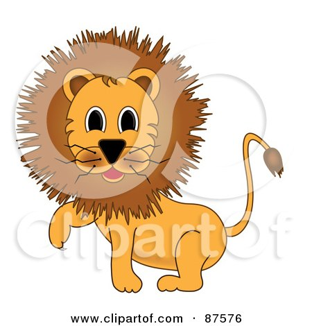 Royalty-Free (RF) Clipart Illustration of a Cartoon Male Lion Lifting One Paw by Pams Clipart