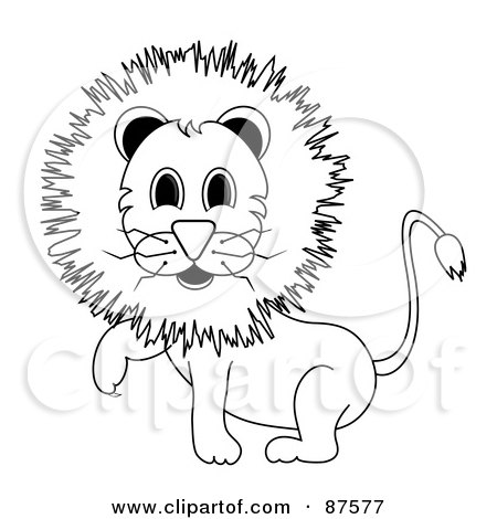 Royalty-Free (RF) Clipart Illustration of a Black And White Outlined Male Lion Lifting One Paw by Pams Clipart