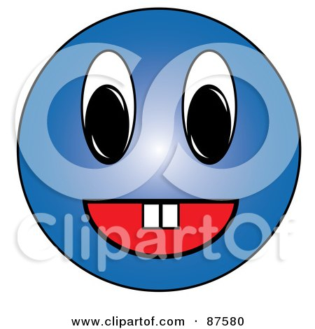 Royalty-Free (RF) Clipart Illustration of a Friendy Blue Emoticon Face With Teeth by Pams Clipart