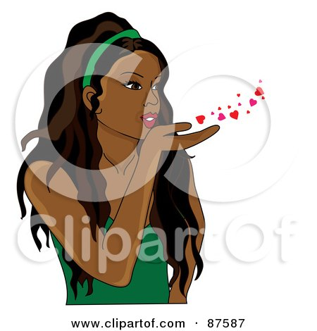 Royalty-Free (RF) Clipart Illustration of a Beautiful Indian Woman Blowing Hearts And Kisses by Pams Clipart