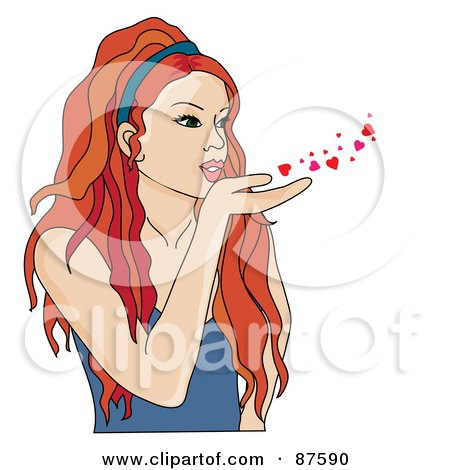 Beautiful Red Haired Woman Blowing Hearts And Kisses Posters, Art Prints