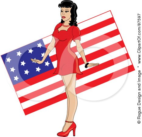 Royalty-Free (RF) Clipart Illustration of a Sexy Pinup Woman In A Red Dress, Standing In Front Of An American Flag by Pams Clipart