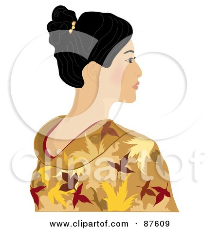 Royalty Free RF Clipart Illustration Of A Beautiful Geisha Woman In A Gold Kimono