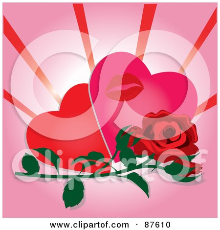 Royalty-Free (RF) Clipart Illustration of a Red Rose And Bud In Front Of Two Hearts And A Lipstick Kiss by Pams Clipart