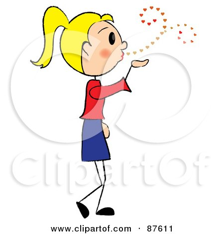 Royalty-Free (RF) Clipart Illustration of a Sweet Blond Stick Girl Blowing Heart Kisses by Pams Clipart