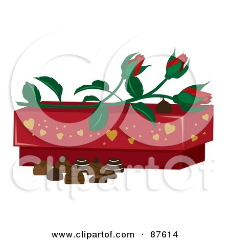 Royalty-Free (RF) Clipart Illustration of Red Rose Buds On Top Of A Valentine's Day Chocolate Box With Candy by Pams Clipart