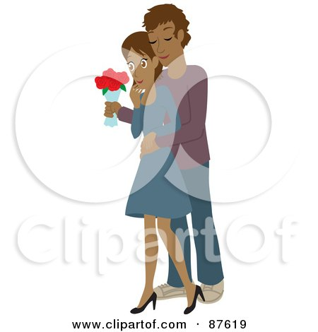 Royalty-Free (RF) Clipart Illustration of a Romantic Hispanic Man Standing Behind His Wife And Surprising Her With A Bouquet Of Colorful Roses by Rosie Piter