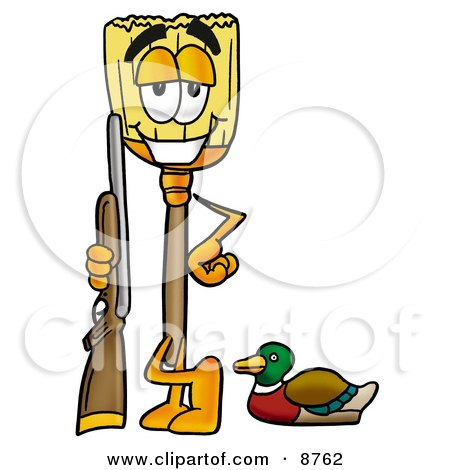 Clipart Picture of a Broom Mascot Cartoon Character Duck Hunting, Standing With a Rifle and Duck by Toons4Biz