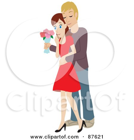 Royalty-Free (RF) Clipart Illustration of a Romantic Caucasian Man Standing Behind His Wife And Surprising Her With A Bouquet Of Colorful Roses by Rosie Piter