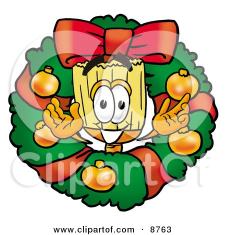 Clipart Picture of a Broom Mascot Cartoon Character in the Center of a Christmas Wreath by Toons4Biz