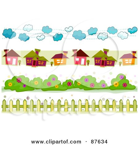 Royalty-Free (RF) Clipart Illustration of a Digital Collage Of Cloud, House, Bush And Fence Borders by BNP Design Studio
