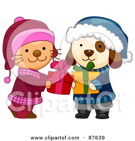 Royalty-Free (RF) Clipart Illustration of a Cute Puppy And Kitten Exchanging Christmas Presents by BNP Design Studio