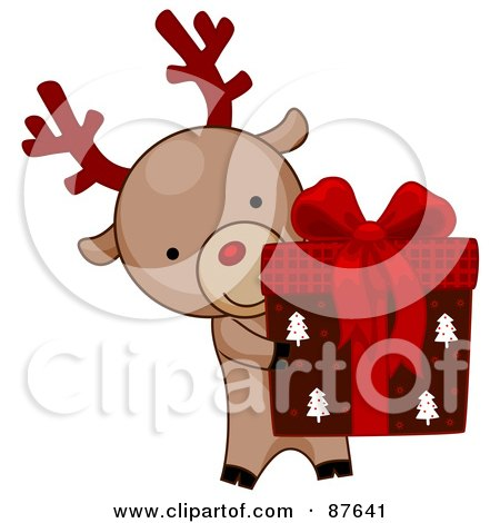Royalty-Free (RF) Clipart Illustration of a Cute Christmas Reindeer Presenting A Gift Box by BNP Design Studio