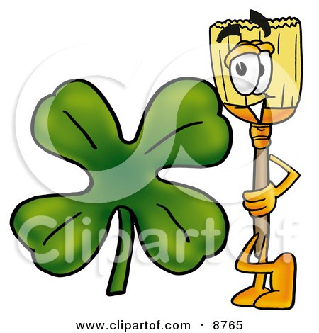 Clipart Picture of a Broom Mascot Cartoon Character With a Green Four Leaf Clover on St Paddy's or St Patricks Day by Toons4Biz
