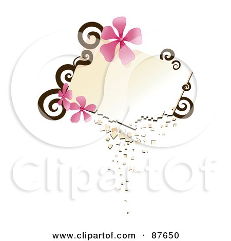Royalty-Free (RF) Clipart Illustration of a Blank Crumbling Text Box With Brown Swirls And Pink Flowers by BNP Design Studio