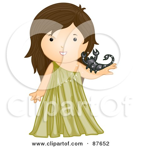 Royalty-Free (RF) Clipart Illustration of an Astrological Cute Scorpio Girl Holding A Scorpion by BNP Design Studio