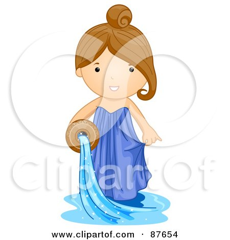 Astrological Cute Aquarious Girl Pouring Water Posters, Art Prints