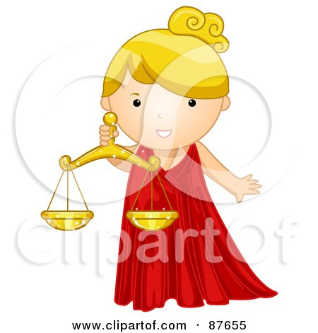 Royalty-Free (RF) Clipart Illustration of an Astrological Cute Libra Girl Holding Scales by BNP Design Studio