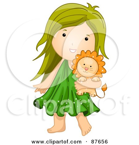 Royalty-Free (RF) Clipart Illustration of an Astrological Cute Leo Girl Carrying A Lion by BNP Design Studio