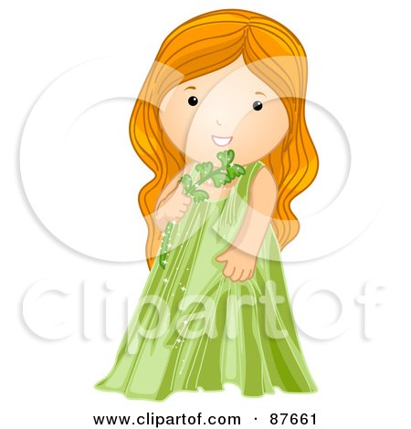 Royalty-Free (RF) Clipart Illustration of an Astrological Cute Virgo Girl Holding A Stem by BNP Design Studio