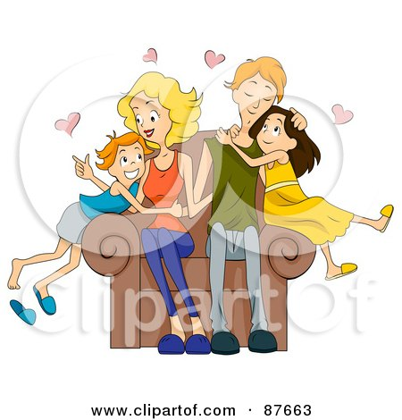 Royalty-Free (RF) Clipart Illustration of a Loving Caucasian Family Of Four Snuggling On A Chair by BNP Design Studio