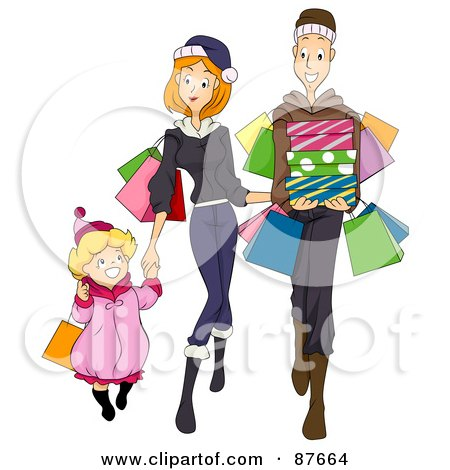 Royalty-Free (RF) Clipart Illustration of a Happy Family Of Three Shopping Together by BNP Design Studio