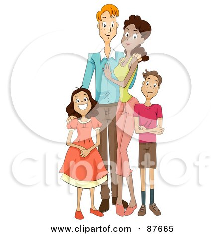 Royalty-Free (RF) Clipart Illustration of a Happy Mixed Face Family Of Four by BNP Design Studio