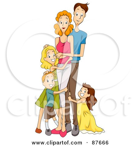 Royalty-Free (RF) Clipart Illustration of a Pleasant Caucasian Family Of Five Standing by BNP Design Studio