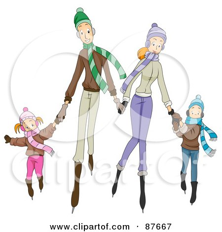 Royalty-Free (RF) Clipart Illustration of a Happy Caucasian Family Of Four Ice Skating by BNP Design Studio