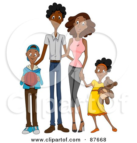 Happy African American Family Of Four Posters, Art Prints