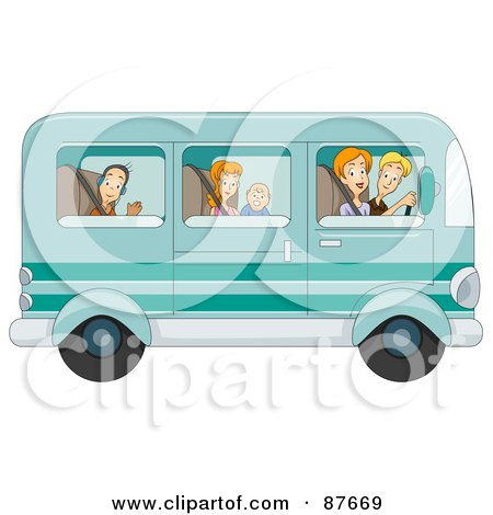 Royalty-Free (RF) Clipart Illustration of a Happy Caucasian Family Of Five Traveling In Their Van by BNP Design Studio