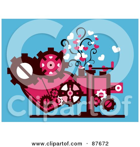 Royalty-Free (RF) Clipart Illustration of a Heart And Gear Cog Machine Generating Love by BNP Design Studio
