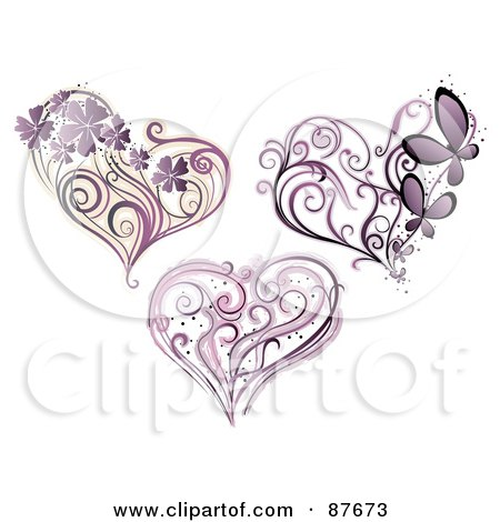 Royalty-Free (RF) Clipart Illustration of a Digital Collage Of Three Purple Floral Vines And Hearts by BNP Design Studio