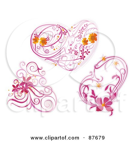 Royalty-Free (RF) Clipart Illustration of a Digital Collage Of Three Pink Floral Vines And Hearts by BNP Design Studio