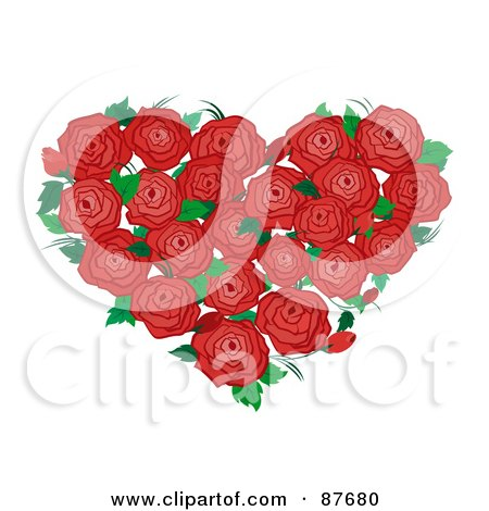 Royalty-Free (RF) Clipart Illustration of a Bouquet Of Red Roses And Green Leaves Forming A Heart by BNP Design Studio