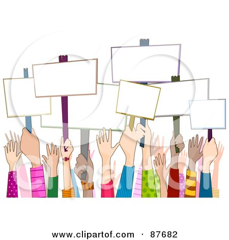 Royalty-Free (RF) Clipart Illustration of a Group Of Diverse Rally Hands Holding Up Blank Signs by BNP Design Studio