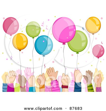 Royalty-Free (RF) Clipart Illustration of a Crowd Of Kids Hands Reaching For Balloons Under Confetti by BNP Design Studio