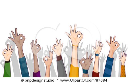 Royalty-Free (RF) Clipart Illustration of a Crowd Of Ok Hands Reaching Up by BNP Design Studio