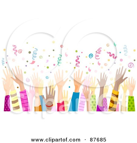 Royalty-Free (RF) Clipart Illustration of a Diverse Crowd Of Hands Waving In The Air Under Confetti by BNP Design Studio