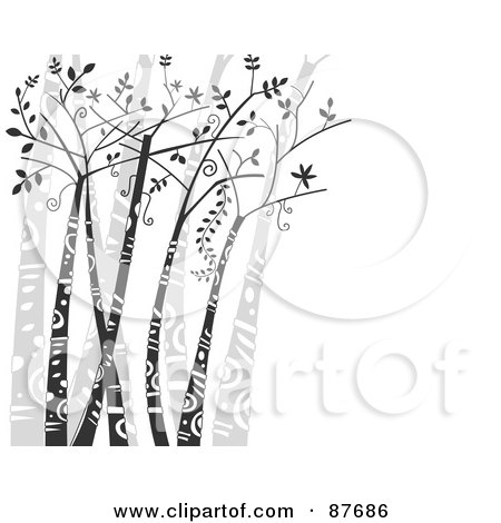 Royalty-Free (RF) Clipart Illustration of a Background Of Trees With Tribal Markings Over White, With Copy Space by BNP Design Studio