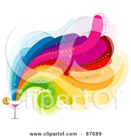 Royalty-Free (RF) Clipart Illustration of Rainbow Waves Shooting Out From A Cocktail by BNP Design Studio