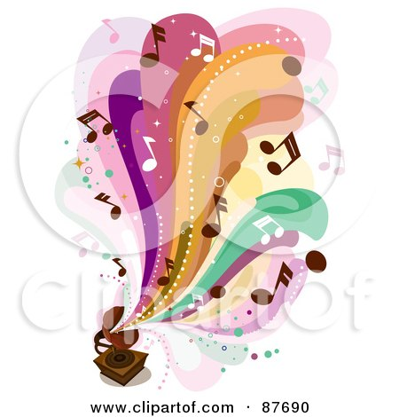 Royalty-Free (RF) Clipart Illustration of Colorful Waves And Music Notes Flowing Out Of A Vintage Gramophone by BNP Design Studio