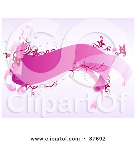 Royalty-Free (RF) Clipart Illustration of a Wavy Pink Valentine Banner With Pink And Red Vines And Swirls, With Bubbles by BNP Design Studio