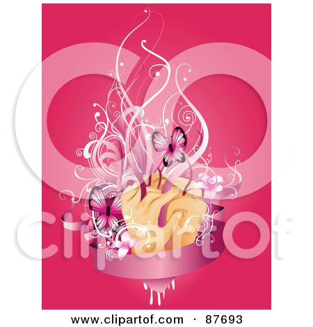 Royalty-Free (RF) Clipart Illustration of a Hands With Vines, Flowers And Butterflies Over A Blank Pink Banner On Pink by BNP Design Studio