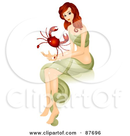 Royalty-Free (RF) Clipart Illustration of a Beautiful Horoscope Cancer Woman Holding A Crab by BNP Design Studio
